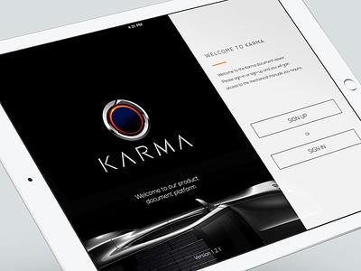 Karma App car ipad sign in app ios