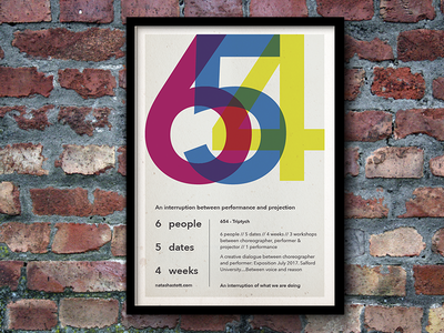 654 - An interruption between performance and projection manchester salford performance cmyk typography design poster