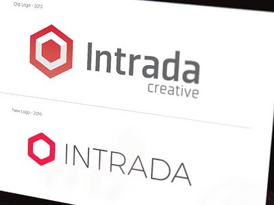 Intrada Logo Rebrand red identity branding brand logo