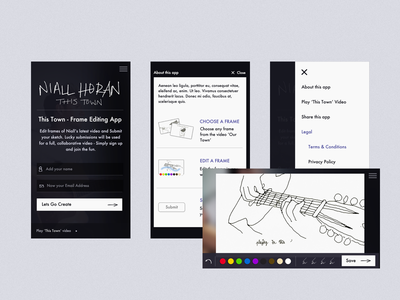 Niall Horan - This Town : Frame Editing Site js design ux ui web mobile music