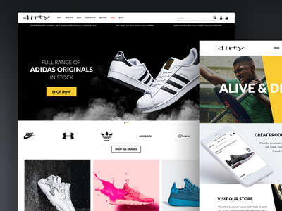 Alive Dirty Shopify Ecommerce Site sports ecommence shopify ui brand website design uidesign ux