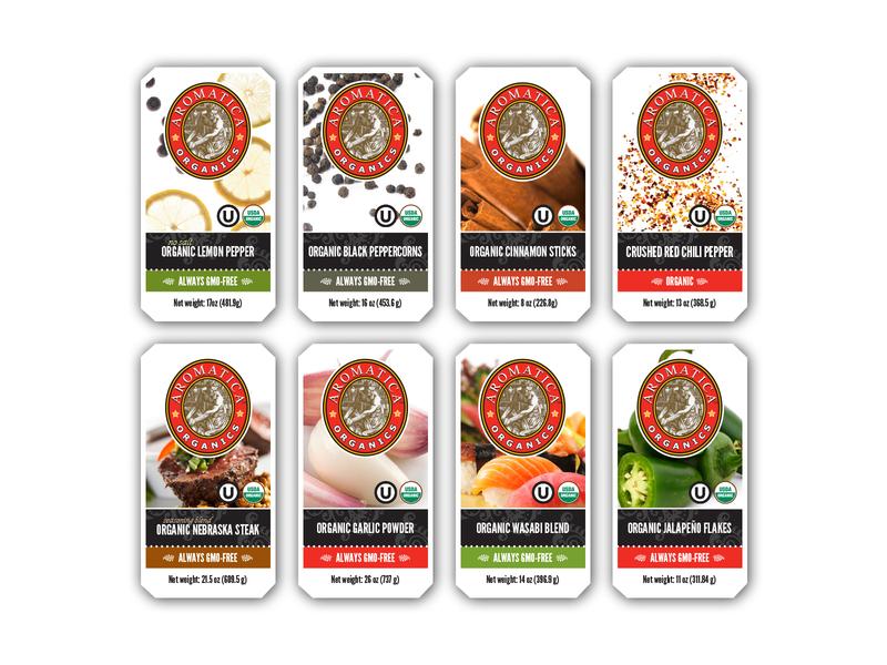 Aromatica Food Service Spice Labels packaging design packaging branding design