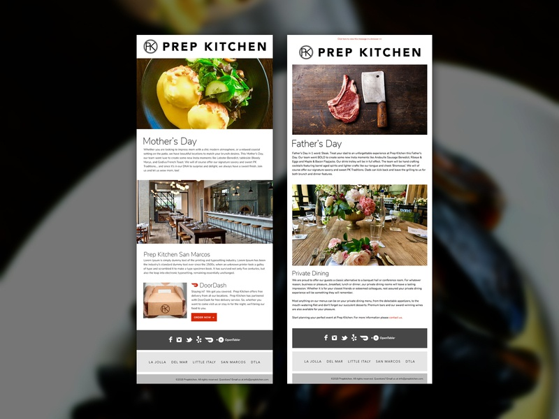 Prep Kitchen  Email Blasts programming email design marketing collateral design email blast email marketing