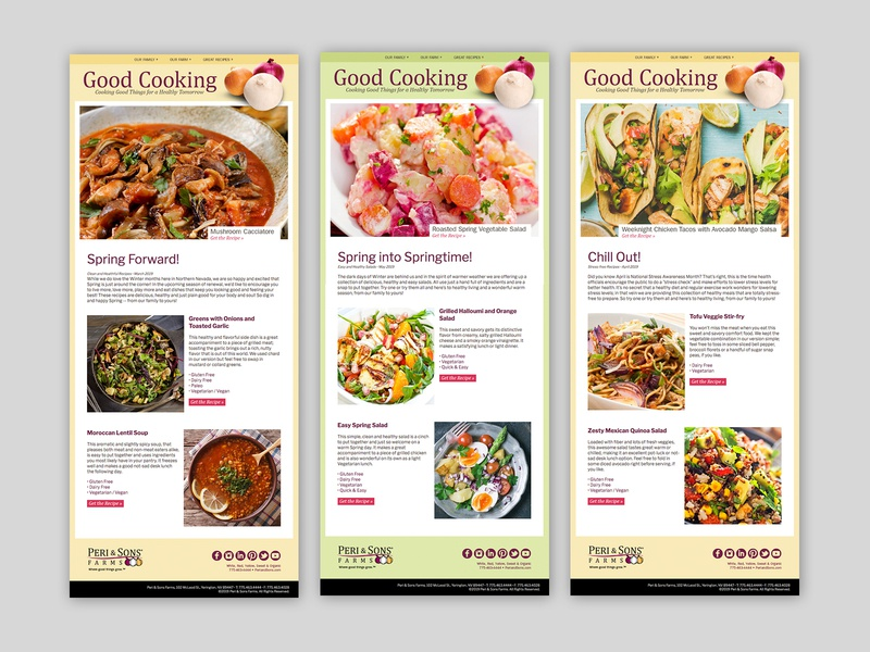 Peri & Sons Farms Email Blasts email blast email marketing marketing collateral design