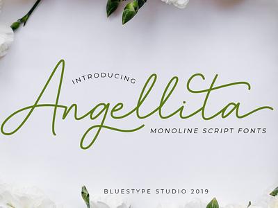 Angellita - Monoline Script Fonts signature handwritten illustration font design vector font lettering typography type logo design branding