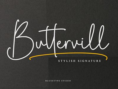 Buttervill - Stylish Signature Font illustration vector popular design popular new logo design branding font design type typography lettering font