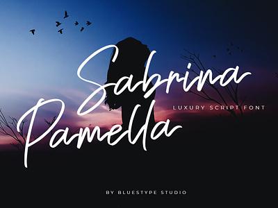 Sabrina Pamella - Luxury Script Font handwritten signature font design font lettering typography type logo branding design