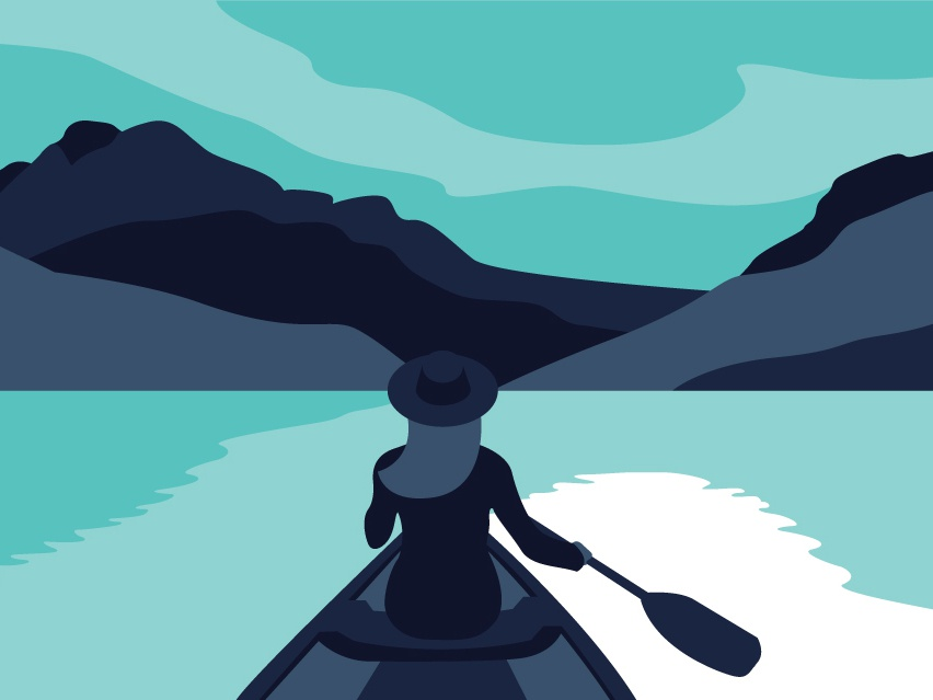 Canoe Adventure girl canoe mountains lake vector illustration