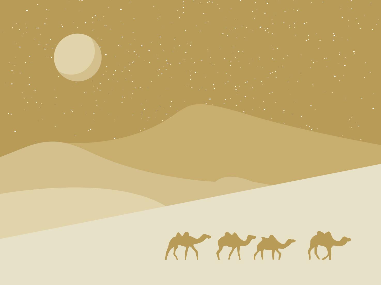 Desert Night egyptian moon desert camels vector illustration
