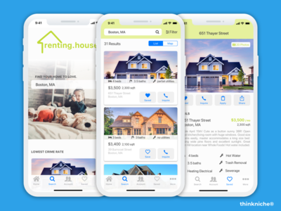 renting.house app design rent save search favorite real estate iphone x iphone app mobile ios iphone design app