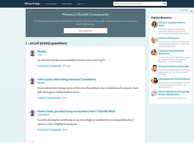 Health Community Website medical forum feminine blog article design blog design community health care healthcare