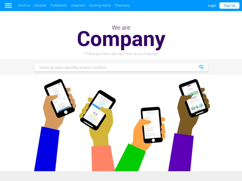 Material Design Splash Page splash page search box branding responsive homepage design desktop app material design design illustration