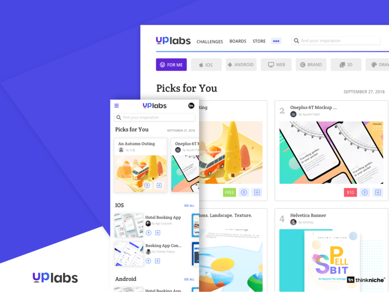 Uplabs Homepage Redesign ux design ui iphone x search results filters desktop mobile ios redesign uplabs branding landing page splash page homepage