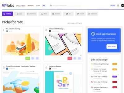 Uplabs Homepage Redesign for Desktop ui desktop design web browse pills search result search landing page splashpage homepage material design branding