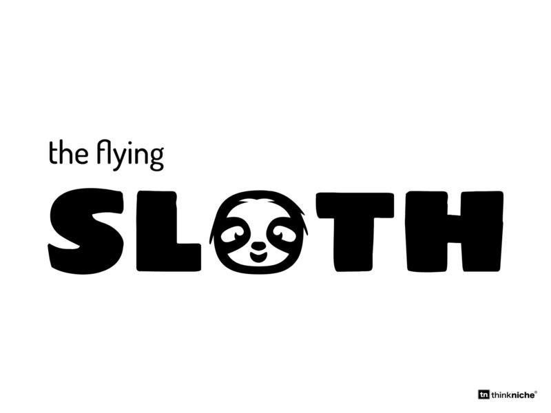 The Flying Sloth - logo and branding brand and identity brand assets bold font sloth vector illustrator typography logo design branding logo brand agency design illustration branding