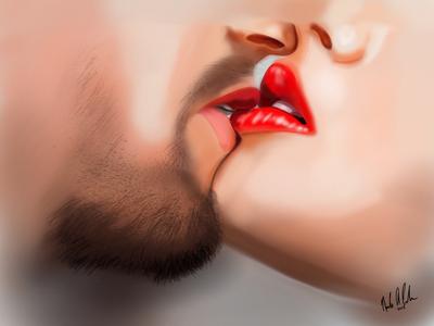 Romance couple digital painting digital design illustration procreate app ipad procreate model people lips kiss
