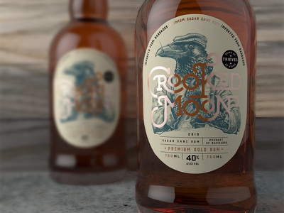 Crooked Moon - Gold Rum Label rum packaging liquor label design package design