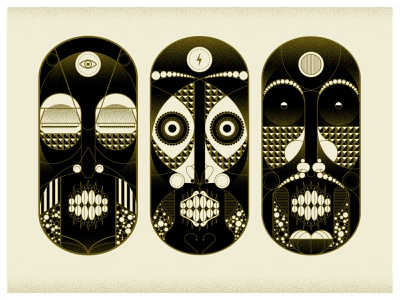 Faces of the Underground self promo vector character masks illlustration