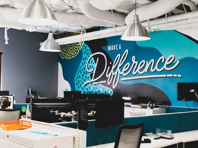 Value Mural: Make a Difference typography paint office design office art mural design office mural mural