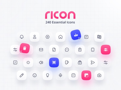 Freebie: Ricon — 240 Essential Interface Icons ricon vector icon design ui outline minimal icon set icon pack icons icon