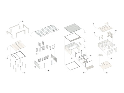 Prefab System Families layout systems residential architecture visualization architecture diagrams diagramming illustration design
