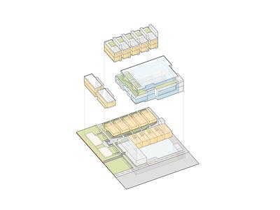 Axonometric Program Diagram layout information design print design brochure design architecture visualization diagrams diagramming illustration design