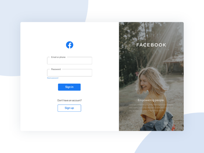 Facebook Sign in page (Dribbble Weekly Challenge) dribblechallenge facebook user interface userinterface ui  ux uiux ui design ui design branding uidesign minimal