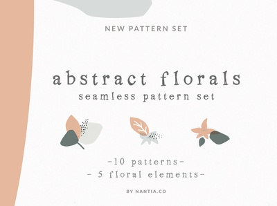 Abstract floral pattern set