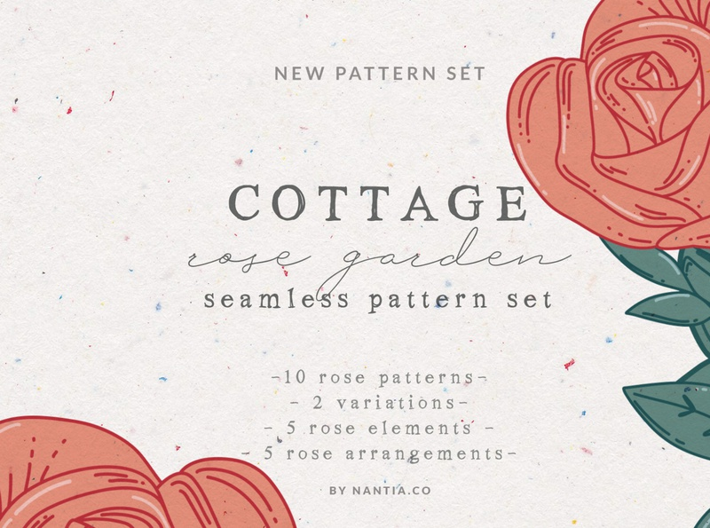 Cottage rose pattern set surface patterns vector patterns graphic design resources rose patterns seamless patterns