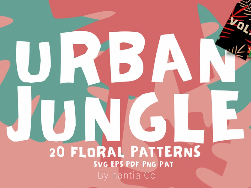 Seamless Patterns 20 x Urban Jungle Vol 3 monstera leaves pattern vector patterns seamless patterns urban jungle illustrations