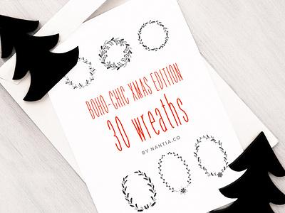 30 Boho Chic Christmas Wreaths Vectors nantiaco graphics graphic design resources christmas graphics vector illustration vector wreaths illustration