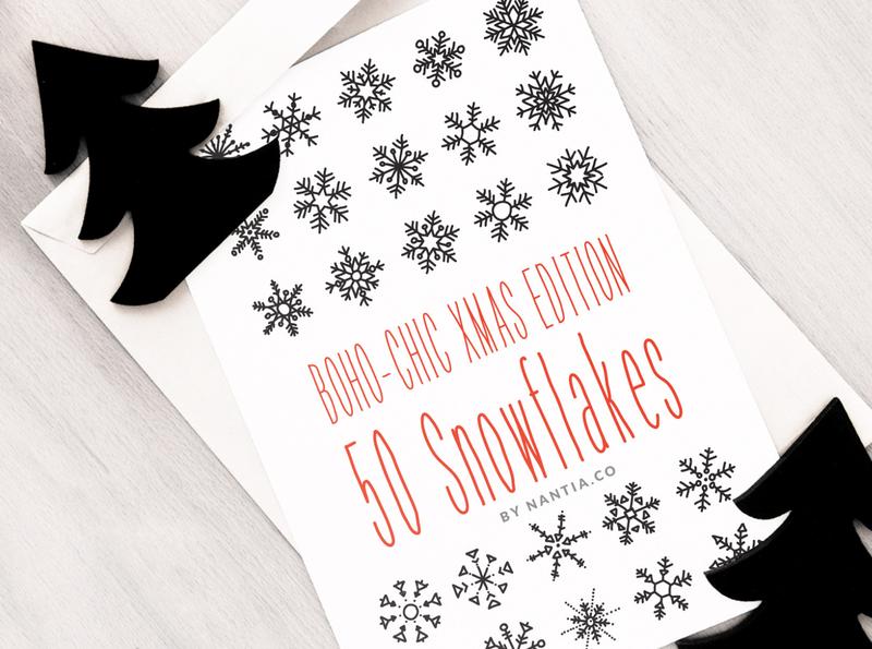 50 Boho Chic Snowflake Vectors