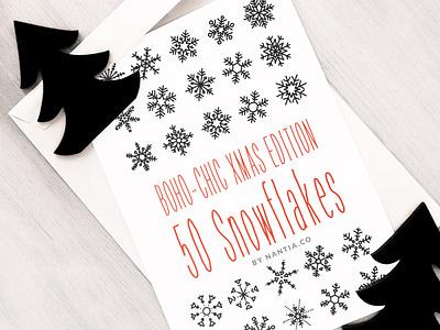 50 Boho Chic Snowflake Vectors graphic design resources snowflakes clipart snowflake illustration