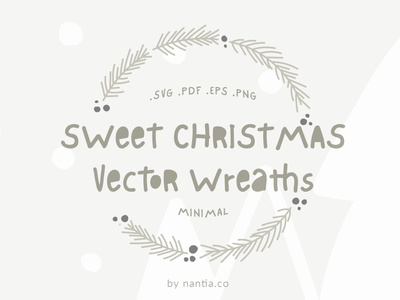 Sweet Christmas Vector wreaths illustration art minimal wreaths digital wreath christmas graphics vector wreaths illustration