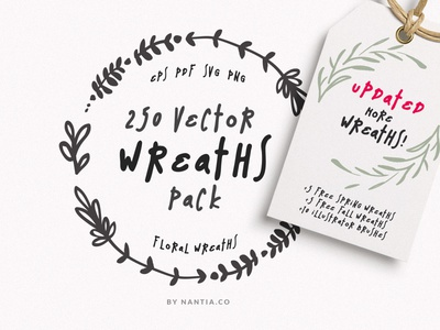 250 Wreaths MegaPack Vectors illustration floral wreaths digital nantiaco graphics wreaths clipart