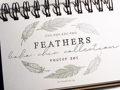 100 Boho Chic Feathers Vectors Mega Pack svg files boho-chic feathers feathers clipart nantiaco graphics illustration