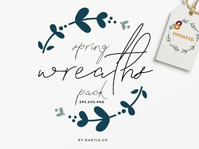 20 Spring Wreaths Vector Pack digital wreaths spring graphics illustration nantiaco graphics
