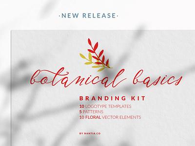 Botanical Basics Branding Kit nantiaco fonts typeface seamless patterns nantiaco graphics branding kit