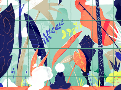 Living inside, dreaming outside. zen vector quarantine jungle drawing graphic design illustration