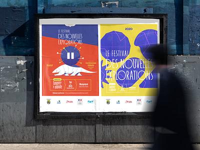 Festival des nouvelles explorations. poster logotype design typography branding print graphic design identity art direction illustration