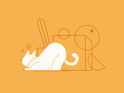 Meow. animation character design cat minimal vector drawing art direction illustration