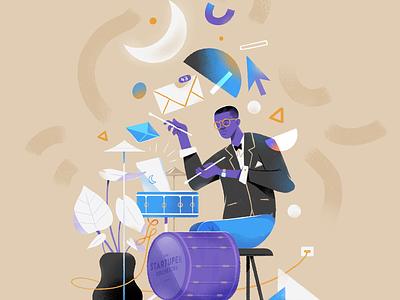 Impro. improvisation freelance jazz vector print drawing art direction illustration