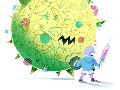 Fight! children pandemic covid virus vaccine kid vector print drawing art direction illustration