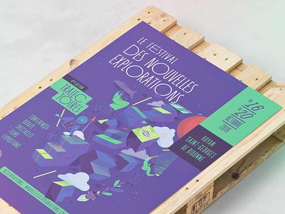 Festival des Nouvelles Exploration 2019 identity print typography vector logo branding graphic design art direction illustration