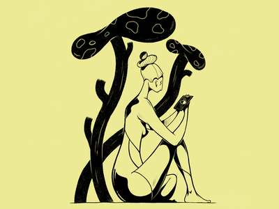 Refletée. 🍄 ink drawing print illustration