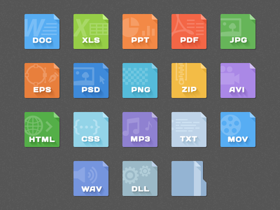 File Type Icons icon set file type file type set psd eps doc video audio software music