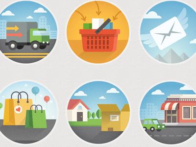 Moving forward... icons flat ecommerce shopping icon icon set