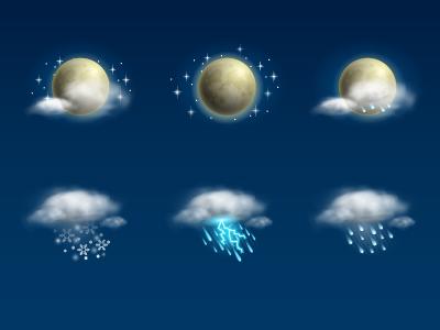 Weather Icon Set | Night weather icon icon set cloud moon rain snow storm fog wind night