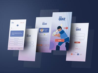 Quiz App mobile ui quiz app quiz game cricket app cricket application app design mobile art vector ux ui illustration flat design app