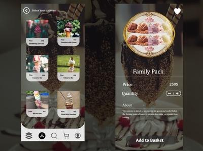 Ice Cream App ui Desgn